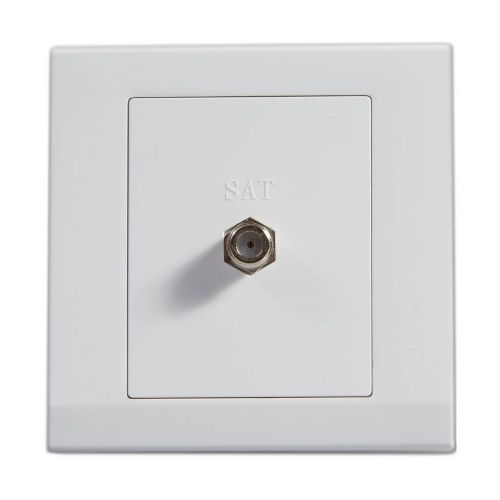 Simplicity White Screwless Single Coaxial Satellite Socket 07640